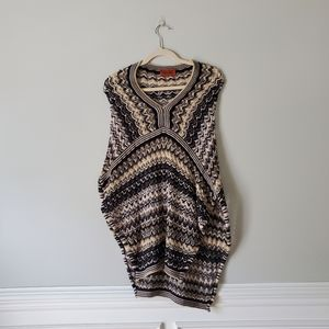 MISSONI   Cream, Gold, and Brown Poncho Sweater OS